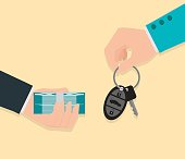 Buying new car conceptual, Hand holding car key and money.