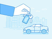 Buying or renting a car concept