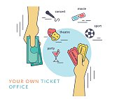 Buying tickets flat line contour illustration of human hand  withdraws