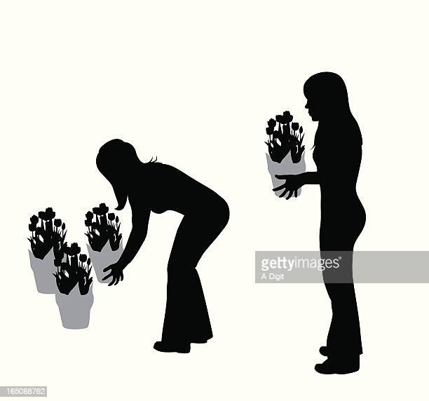 Buying Tulips Vector Silhouette