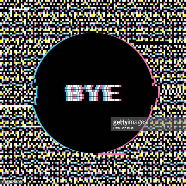 bye banner with glitch noise retro effect - the end stock illustrations