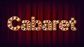 Cabaret Banner Vector. Vintage Cinema 3D Glowing Element. For Poster, Banner Design. Retro Vintage Style Illustration