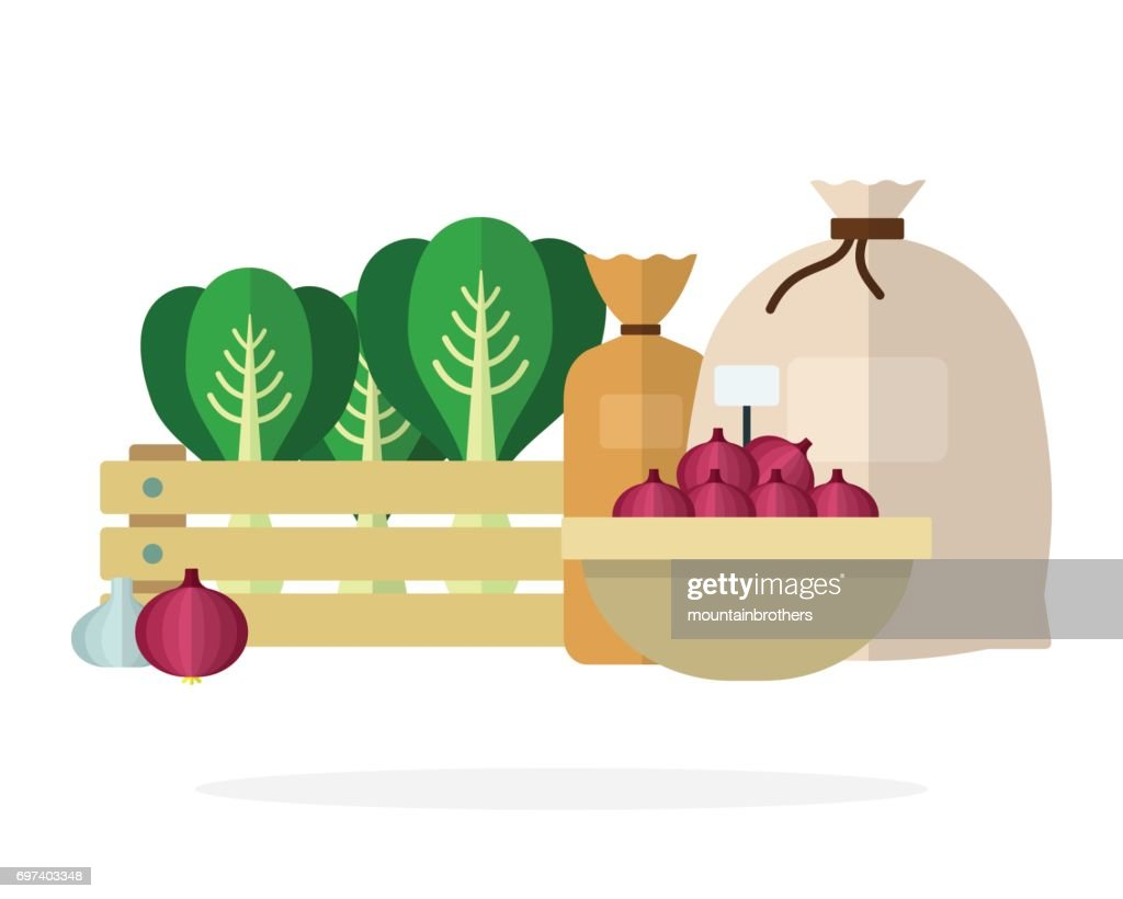 Cabbage in a box, onions in a basket and tied linen sacks flat isolated