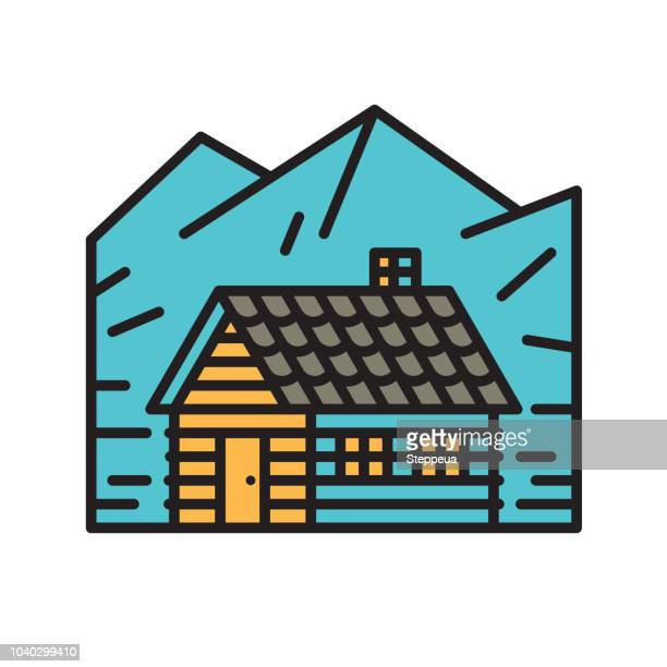 cabin in the mountains - mountain logo stock illustrations