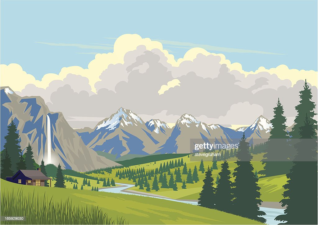 Cabin in the Mountains : stock illustration