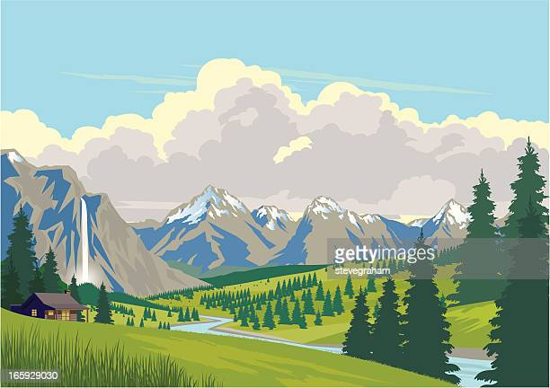 cabin in the mountains - cloudscape stock illustrations, clip art, cartoons, & icons