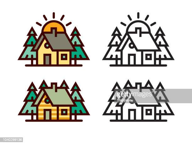 cabin in the woods - small stock illustrations