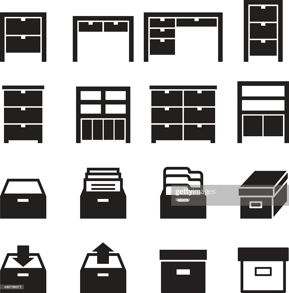 Cabinet & storage icon set