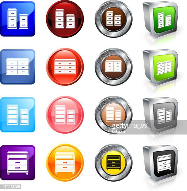 cabinets and shelves royalty free vector button set - bookstand stock illustrations, clip art, cartoons, & icons