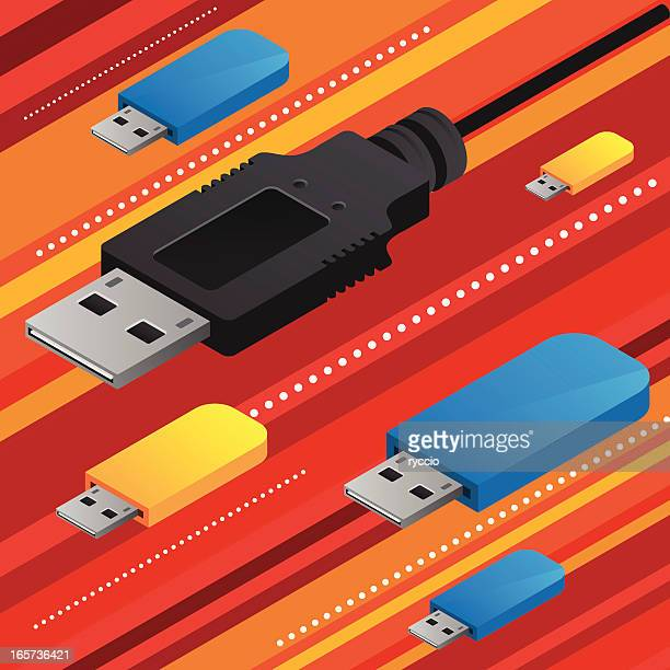 cable and pendrive attack - usb stick stock illustrations, clip art, cartoons, & icons