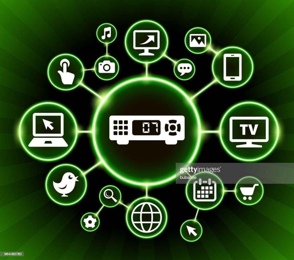 Cable Box Internet Communication Technology Dark Buttons Background ...