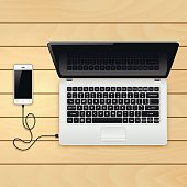 USB cable connect phone and laptop