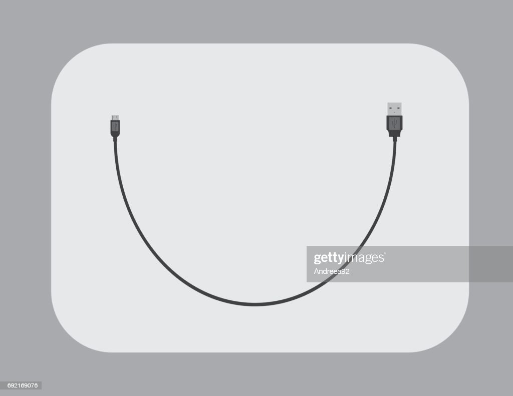 USB Cable Flat - vector  illustration