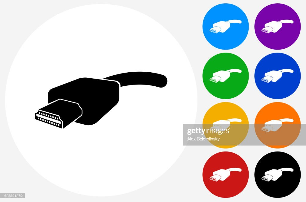 Hdmi Cable Icon On Flat Color Circle Buttons Vector Art Getty Images