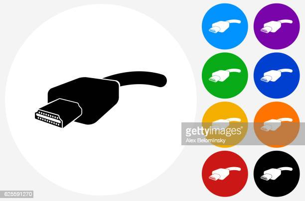 hdmi cable icon on flat color circle buttons - cable stock illustrations, clip art, cartoons, & icons