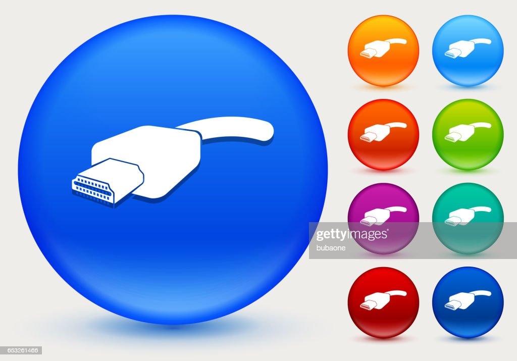 HDMI kabel-ikonen på blanka färgcirkeln knappar : Vektorgrafik