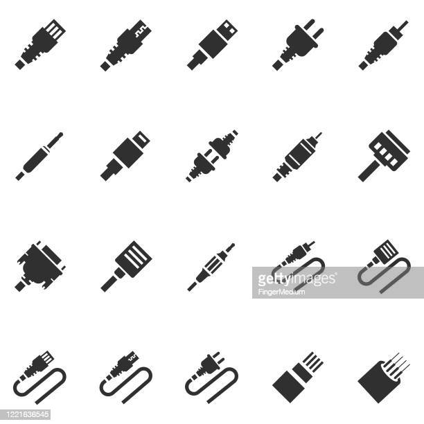 cable icon set - computer cable stock illustrations