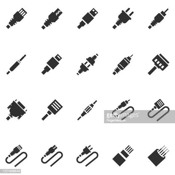 cable icon set - bandwidth stock illustrations