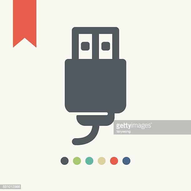 ilustrações, clipart, desenhos animados e ícones de cabo usb ícone - usb cable