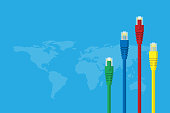 LAN cables with world map on light blue background, connection and technology concept