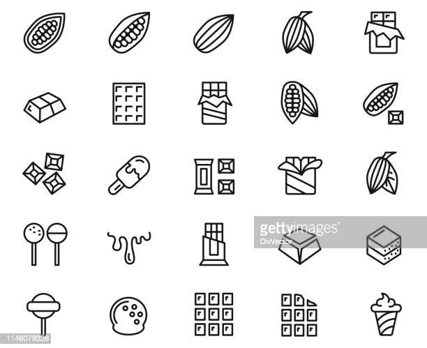 cacao and chocolate  line icons set - chocolate bar stock illustrations