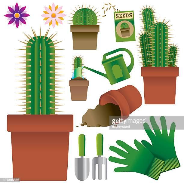 cacti - gardening glove stock illustrations, clip art, cartoons, & icons