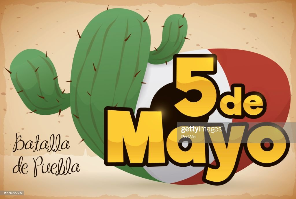 cactus and sign with mexican colors for cinco de mayo vector art