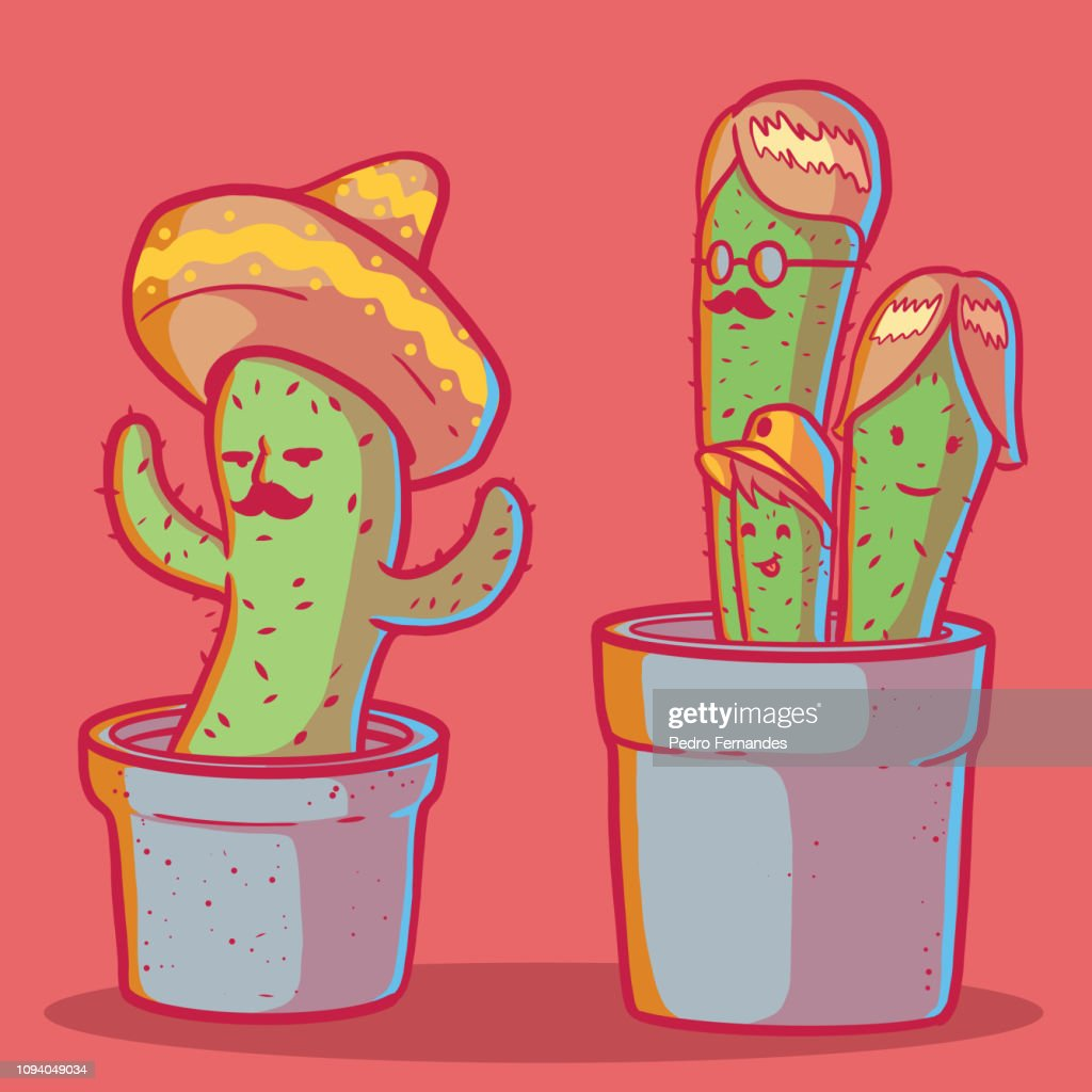 Cactus character set vector illustration.