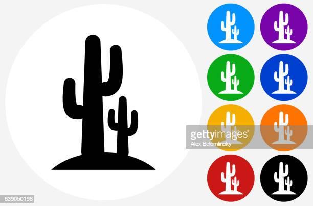 ilustraciones, imágenes clip art, dibujos animados e iconos de stock de cactus icon on flat color circle buttons - cactus