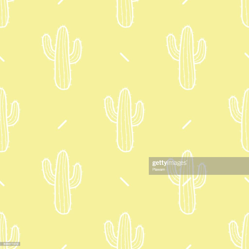 Cactus in white outline on pastel yellow background. Hand drawn style. Seamless pattern vector illustration