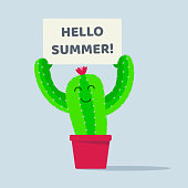 Cactus plant in the pot with hello summer flat style design vector illustration isolated on white background. Green smiling cactus with thorns and flower on his head needs to hug! Cartoon and cute.