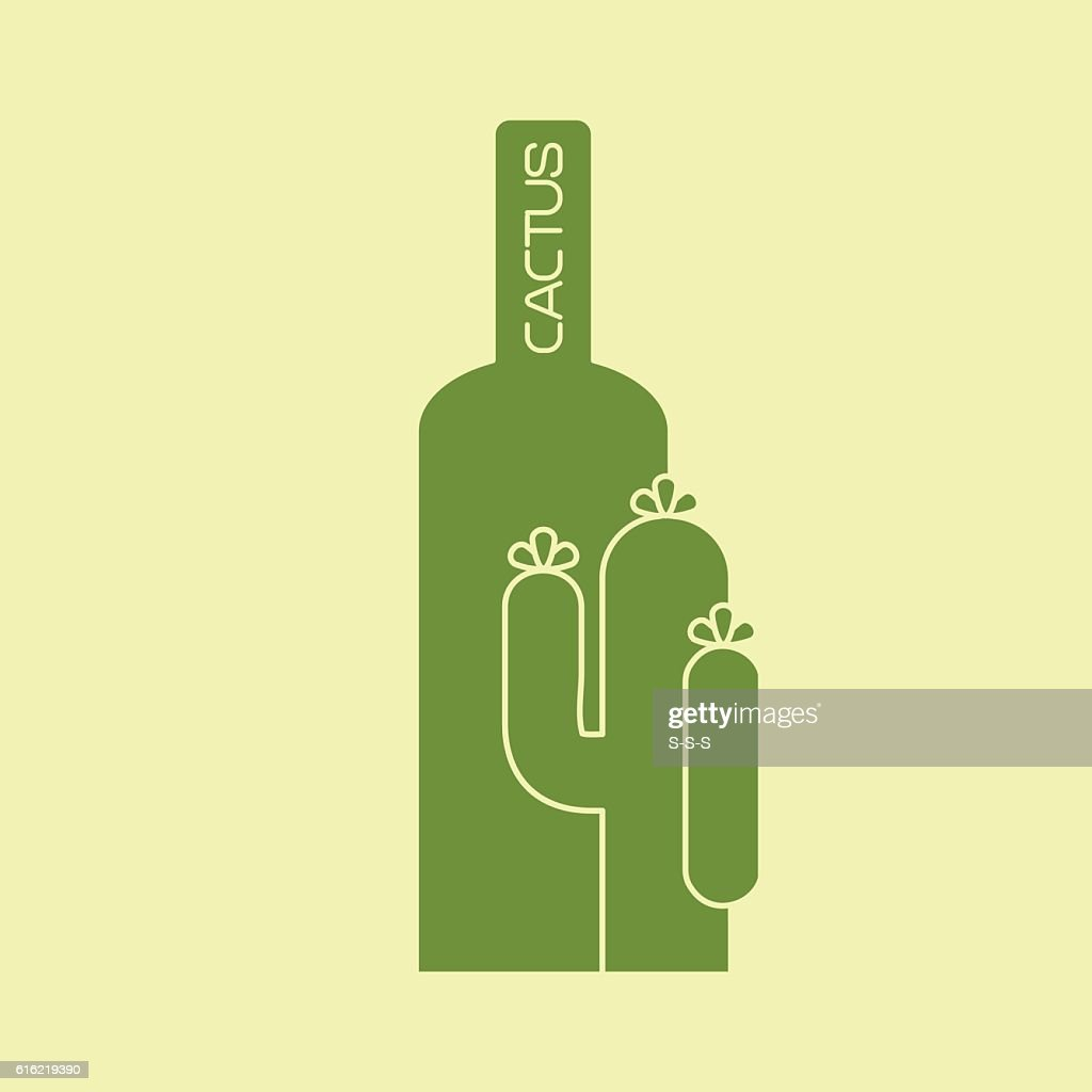 Cactus with bottle green logo design : Vector Art