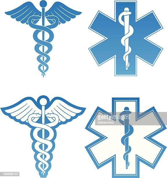 ilustrações, clipart, desenhos animados e ícones de caduceus e star of life - símbolo médico