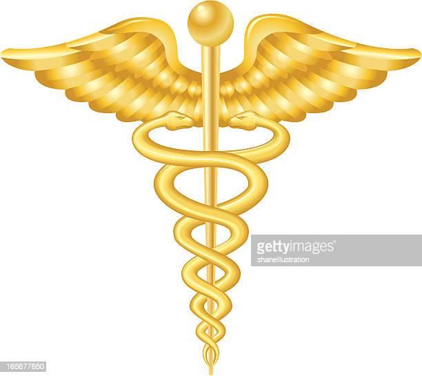 ilustrações, clipart, desenhos animados e ícones de ouro de caduceu - símbolo médico