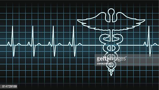 caduceus heart beat - frequency stock illustrations