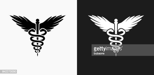 Caduceus Icon on Black and White Vector Backgrounds