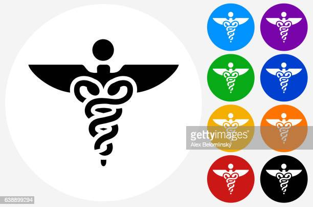 caduceus icon on flat color circle buttons - medical symbol stock illustrations, clip art, cartoons, & icons