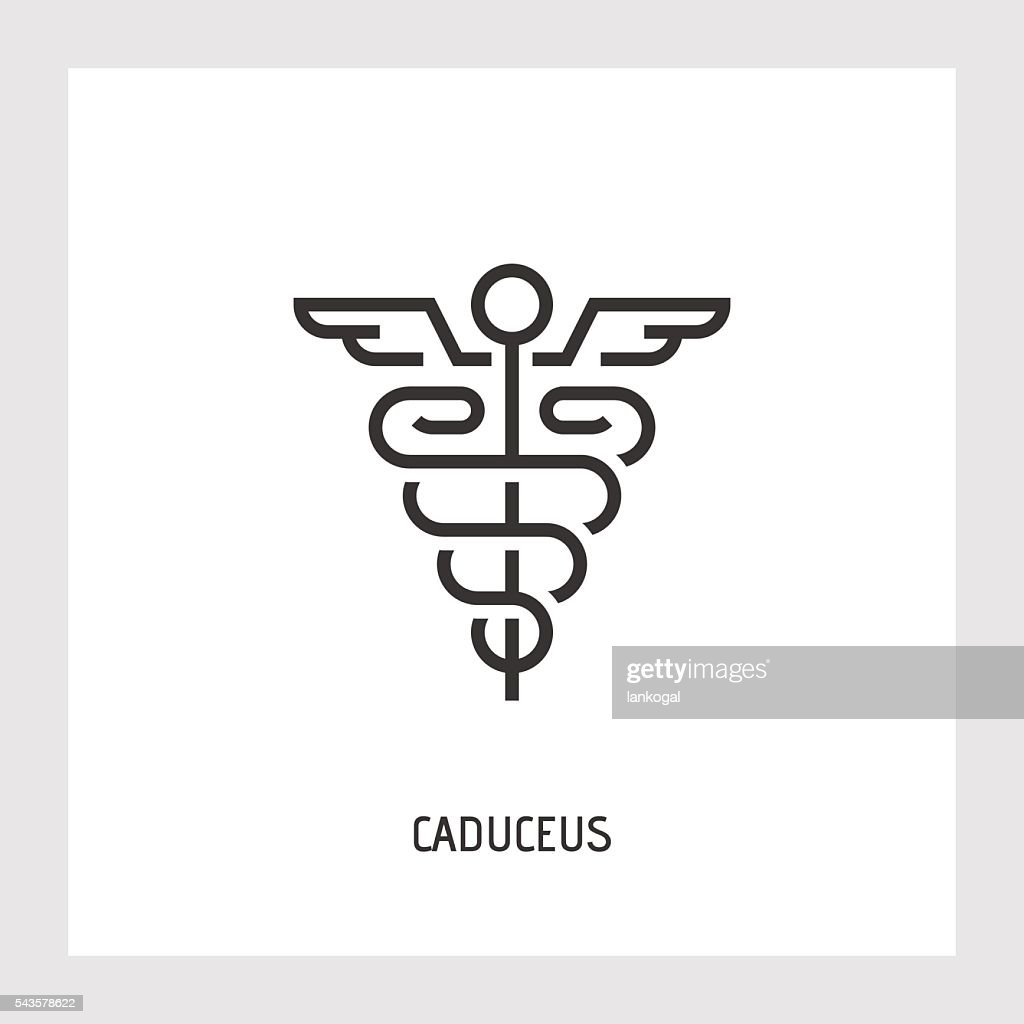 Caduceus icon. Thin line vector sign.