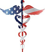 Caduceus Medical Symbol with USA Flag Vector Illustration