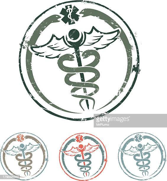 caduceus rubber stamp - medical symbol stock illustrations, clip art, cartoons, & icons