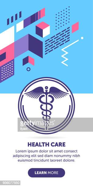 caduceus sign banner - medical symbol stock illustrations, clip art, cartoons, & icons