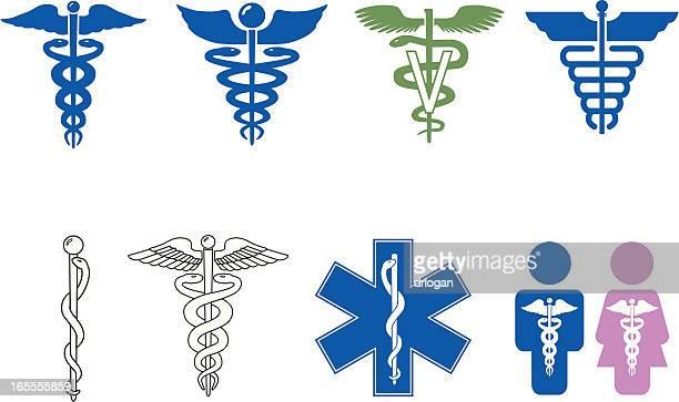 caduceus symbol series - veterinarian stock illustrations, clip art, cartoons, & icons