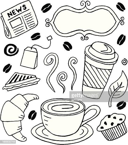 café doodles - toasted sandwich stock illustrations, clip art, cartoons, & icons