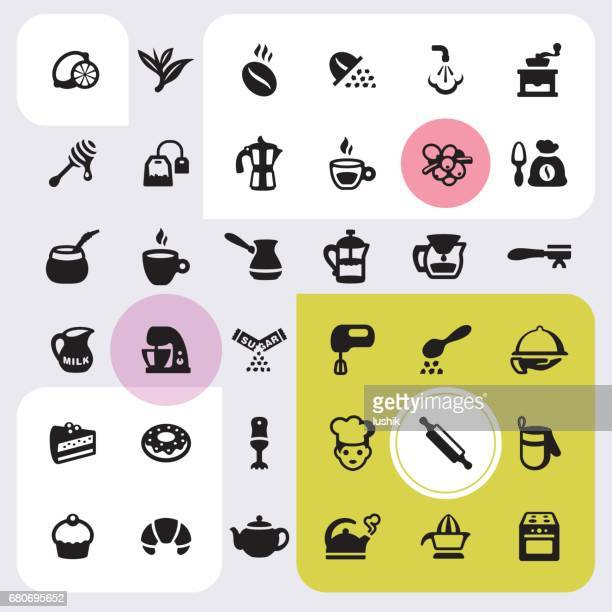 Cafe and Bakery icons set