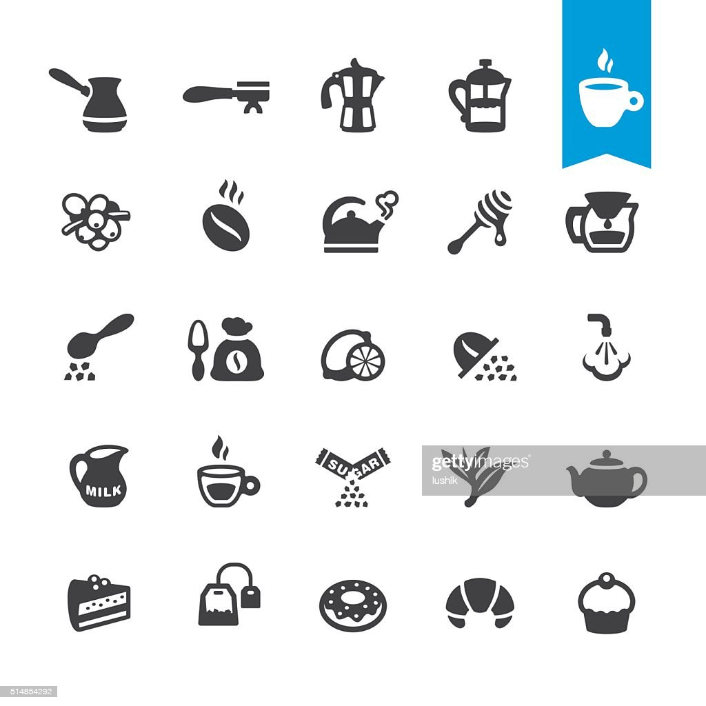 Cafe, Coffee and Tea vector icons : stock illustration