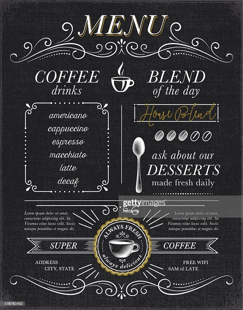 Cafe, Coffee Shop Menu Concept