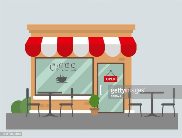 cafe flat design - cafe stock illustrations