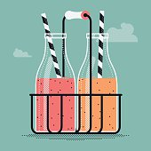 Cafe fruit coctails or smoothies illustration