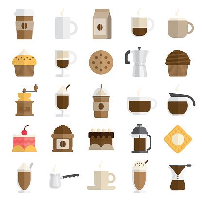 cafe icon set in flat and modern style - gettyimageskorea
