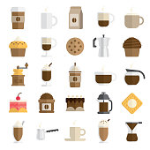 cafe icon set in flat and modern style